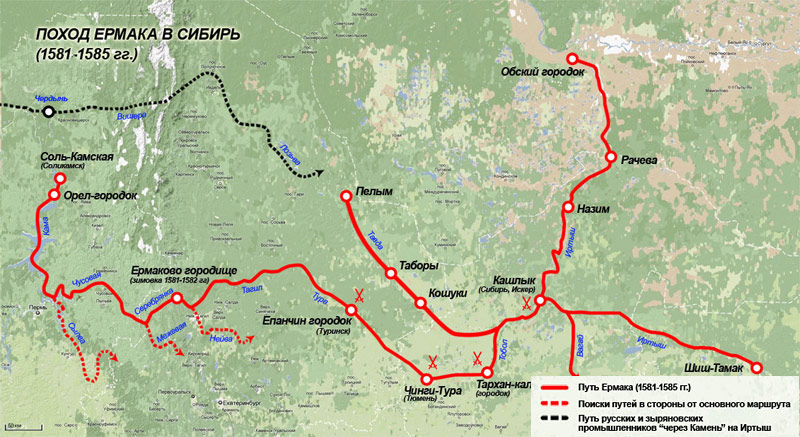Карта похода Ермака